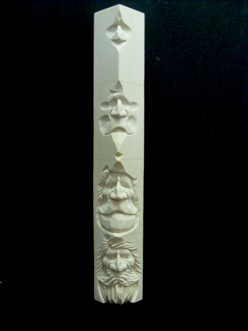 Irishman carvings study stick